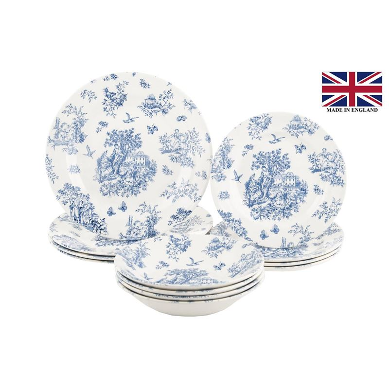 Queens by Churchill – Toile Blue Chelsea 12pc Dinner Set (Made in England)