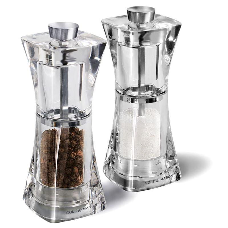 Cole & Mason – Crystal Acrylic 12.5cm Salt and Pepper Grinder Set