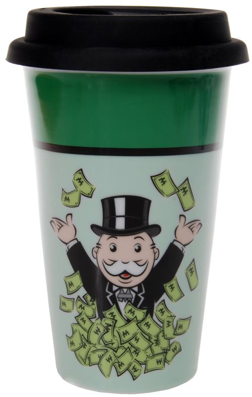 Monopoly – Bond Street Monopoly Double Wall Travel Mug with Black Silicone Lid