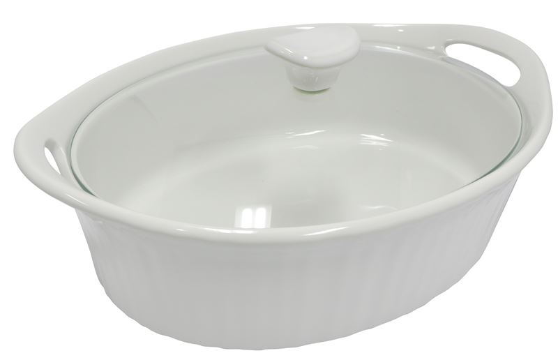 CorningWare French White – 1.4Ltr Oval Casserole with Glass Lid