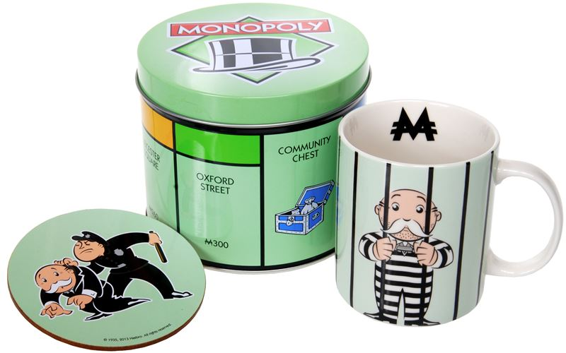 """Monopoly – Mug and Coaster in Tin Storage Gift Set """"Go Directly to Jail"""""""