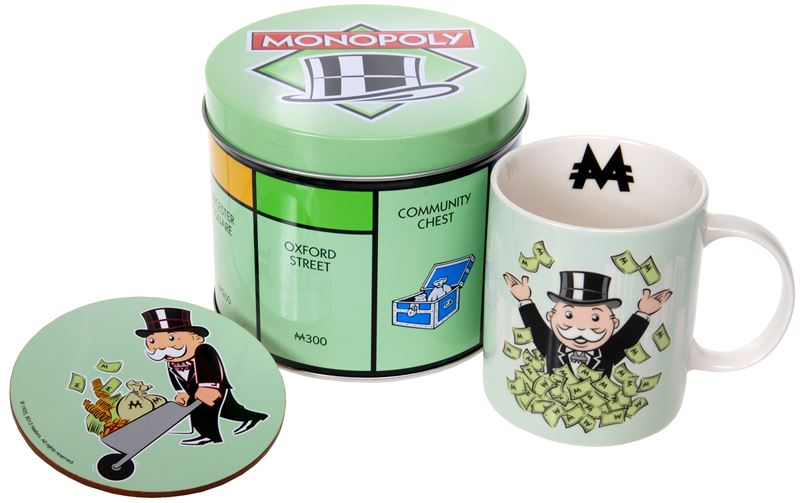"Monopoly – Mug and Coaster in Tin Storage Gift Set ""Money Bags Wheelbarrow"""
