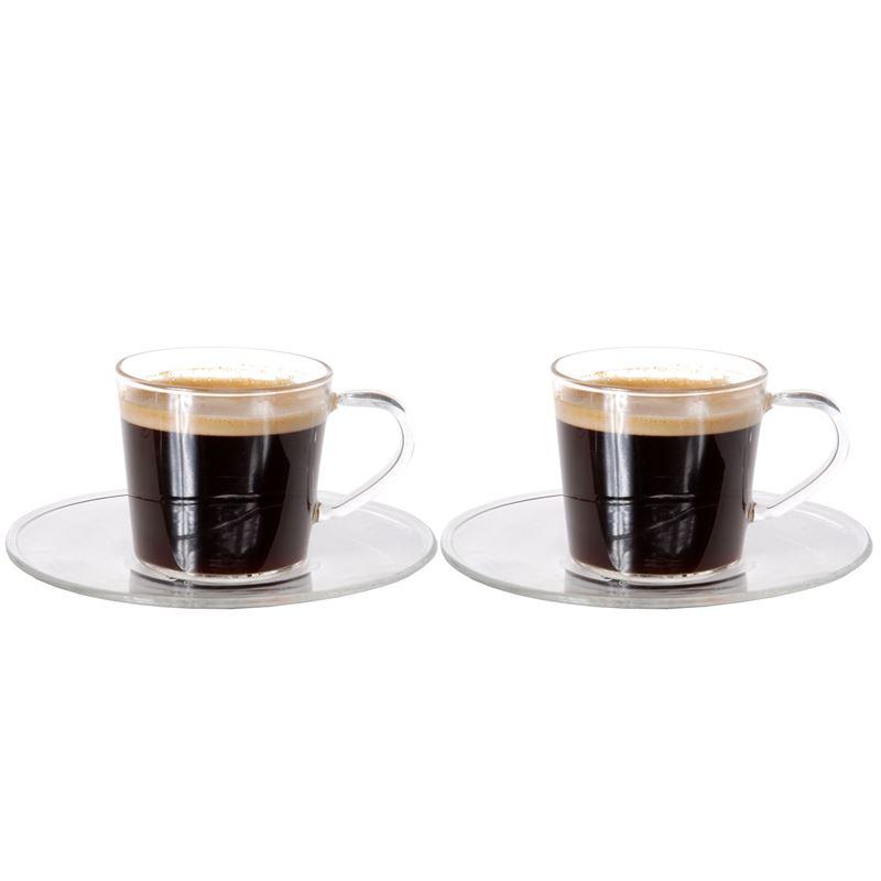 Zuhause – Nova Set of 2 Superior Fine Glass Espresso Cups and Saucers 80ml