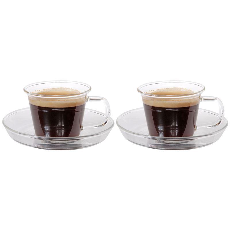 Zuhause – NY3 Set of 2 Superior Fine Glass Espresso Cups and Saucer 80ml