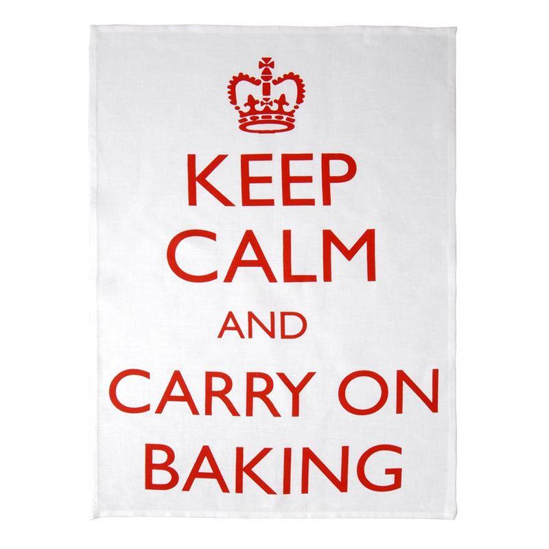 Dan Samuels – Keep Calm and Carry on Baking 100% Linen Tea Towel 50x70cm Red