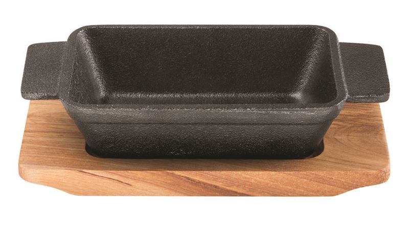 PyroCast by Pyrolux – Rectangular Baker 13.5x9cm with Wooden Tray