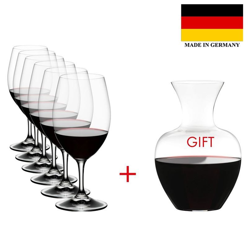 Riedel – Ouverture 6 Pack Magnum 530ml + Gift Apple Decanter (Made in Germany)