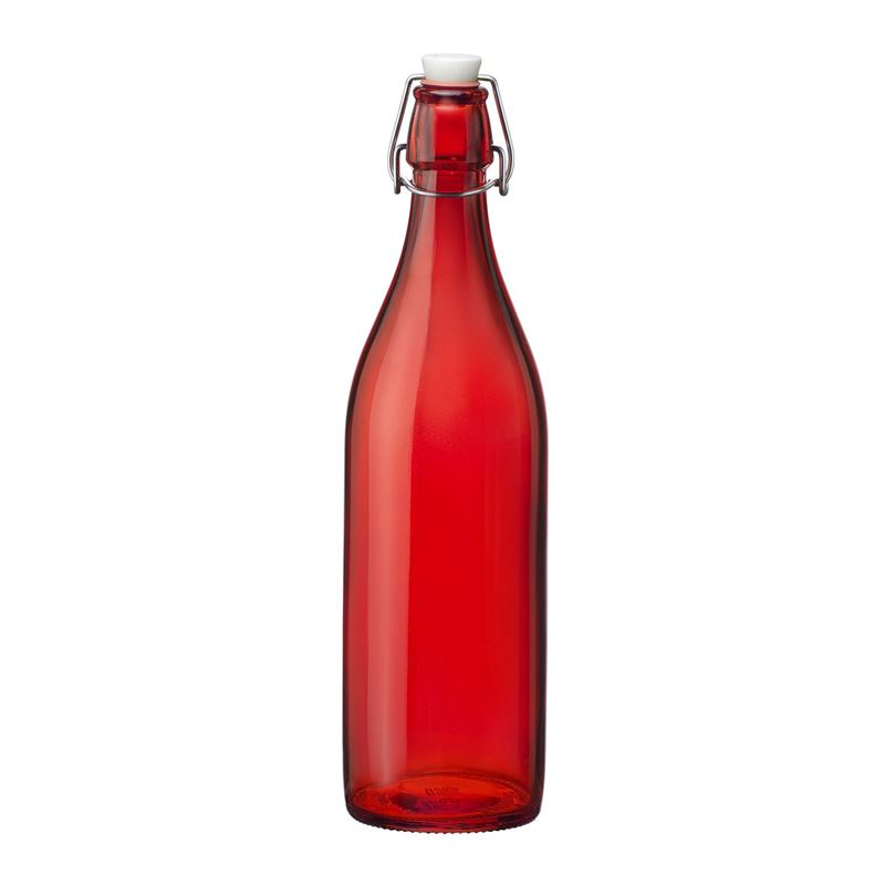 Bormioli Rocco – Giara 1Ltr Clip Top Bottle Red (Made in Italy)