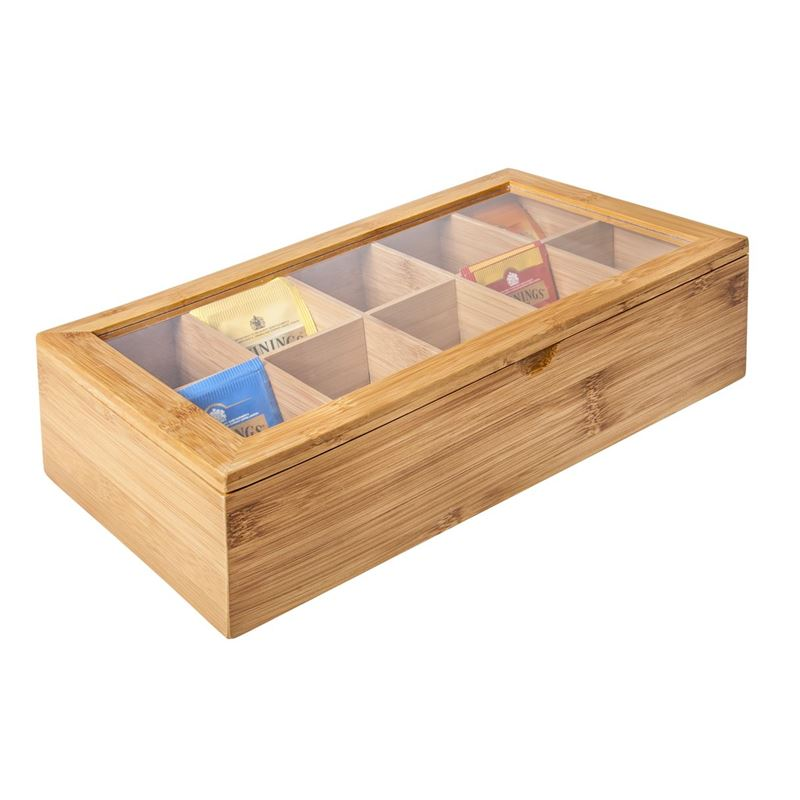 Benzer – Ecozon Bamboo 10 Compartment Tea Box 36x21x9.5cm