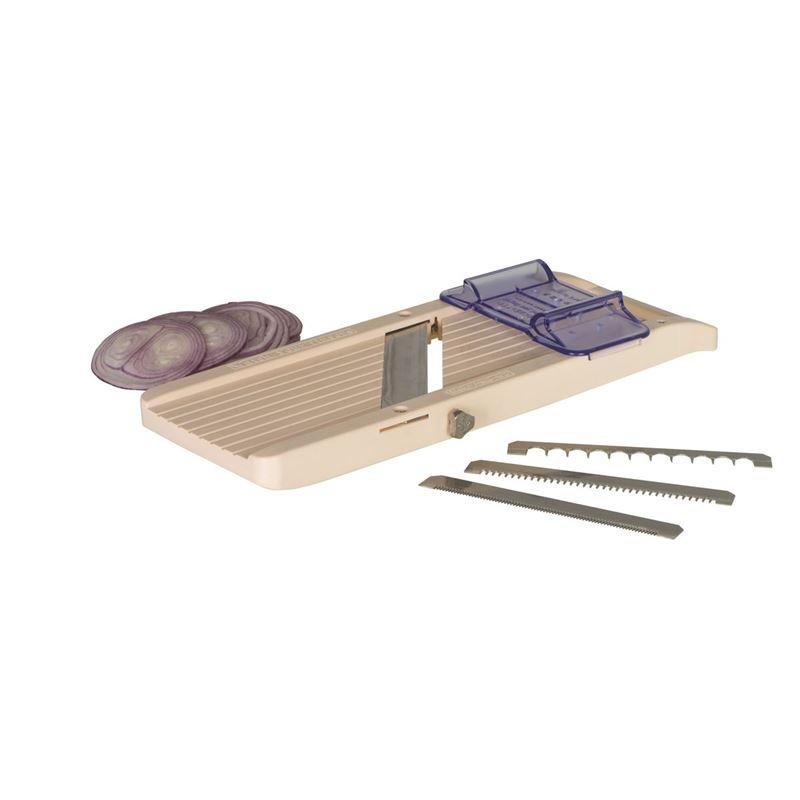 Benriner – No. 3 Super Mandoline Vegetable Slicer 95mm – Thickness 0.3mm 5mm Interchange Blades (Made in Japan)