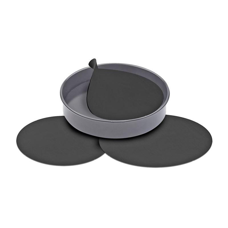 Non-Stick Re-Useable Cake Pan Liners Set 3 (18, 20 & 23 cm dia) Black