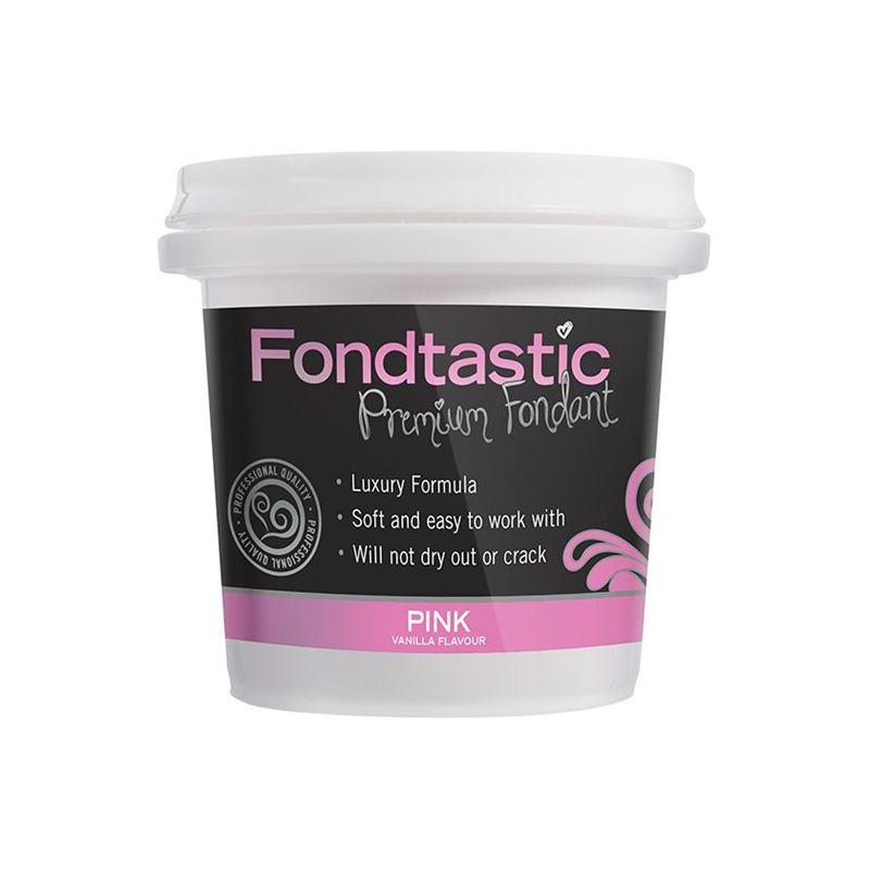 Fondtastic – Mini Premium Rolled Vanilla Flavoured Fondant Pink 226g (Made in Canada)