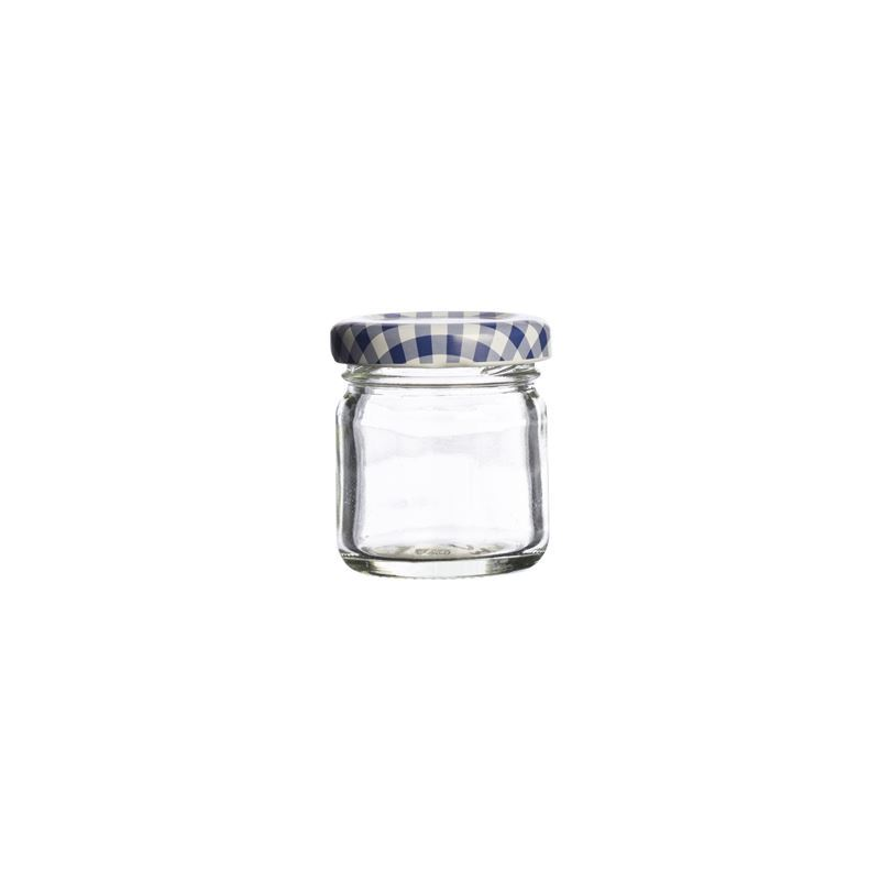 Kilner – Round Twist Top Blue Check Lid 43ml (Made in England)