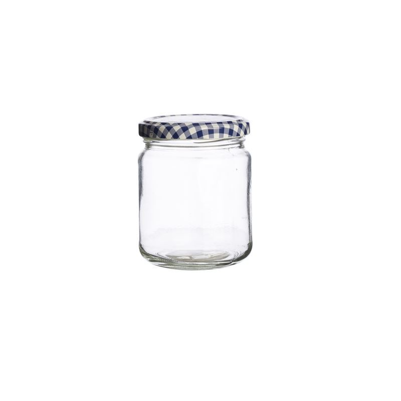 Kilner – Round Twist Top Blue Check Lid 228ml (Made in England)