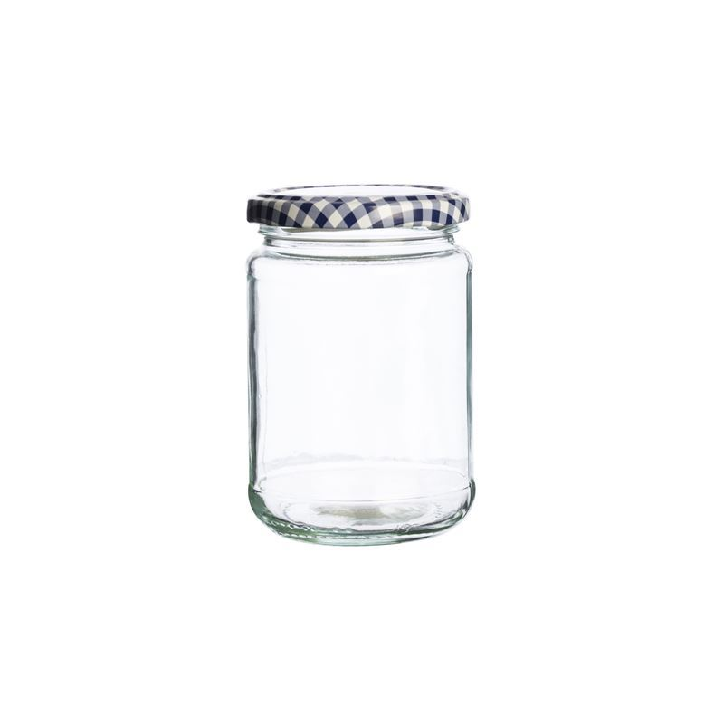 Kilner – Round Twist Top Blue Check Lid 370ml (Made in England)