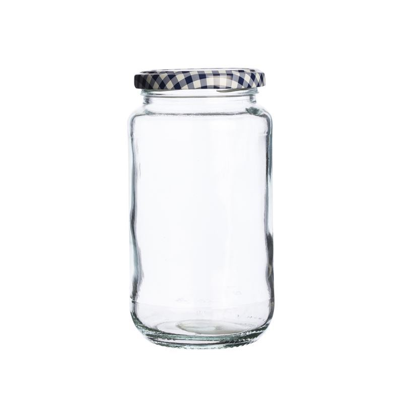 Kilner – Round Twist Top Blue Check Lid 580ml (Made in England)