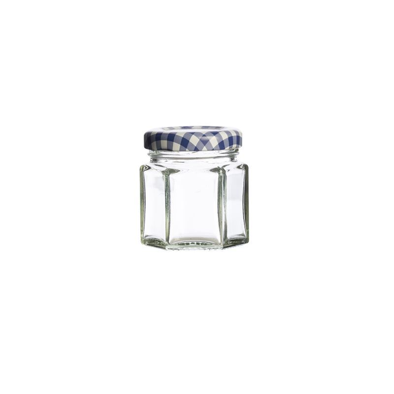 Kilner – Hexagonal Twist Top Jar Blue Check Lid 48ml (Made in England)