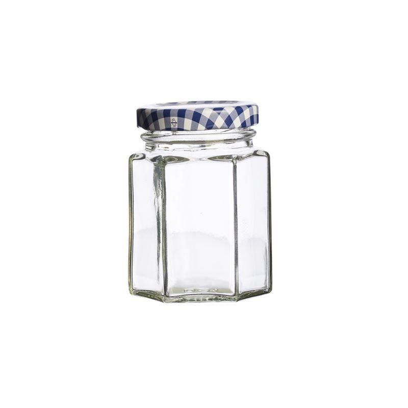Kilner – Hexagonal Twist Top Jar Blue Check Lid 110ml (Made in England)