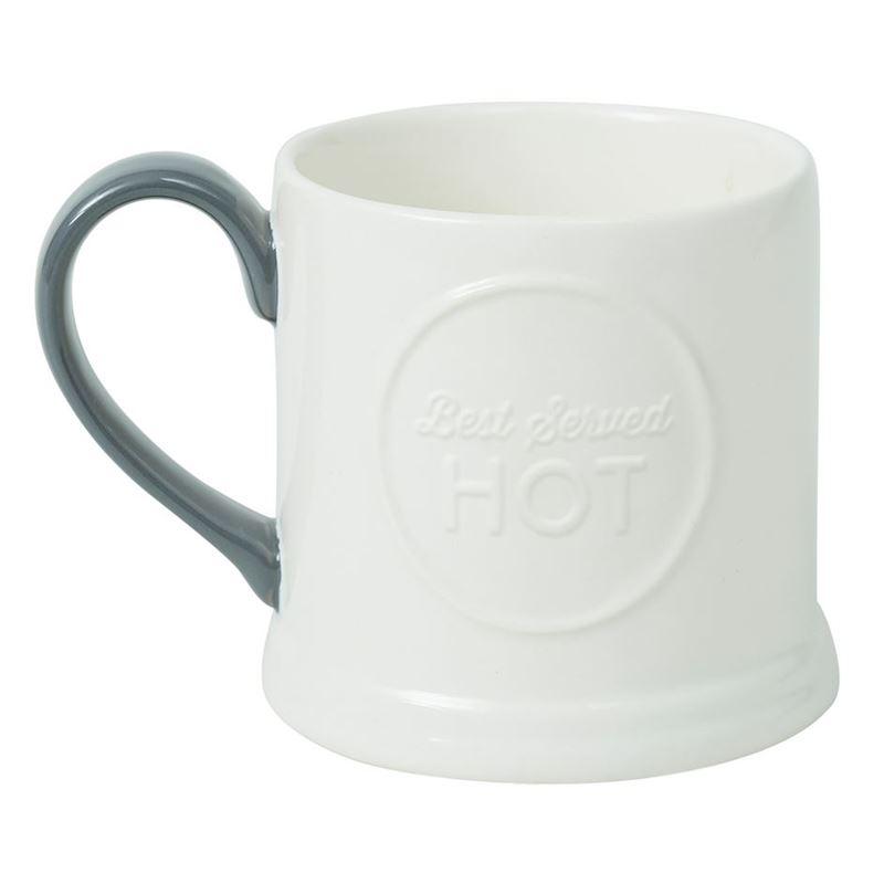 Jamie Oliver- Embossed Mug Best Served Hot Slate Grey 375ml