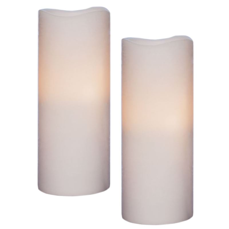 Zuhause – Flameless Flickering 20cm Candles set of 2 White