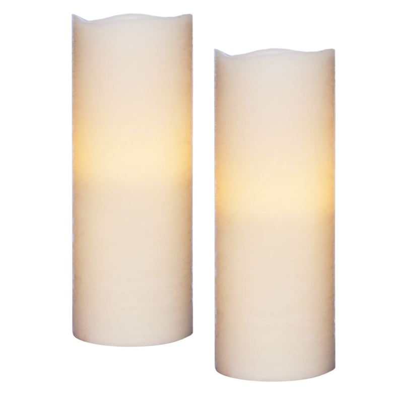 Zuhause – Flameless Flickering 20cm Candles set of 2 Ivory