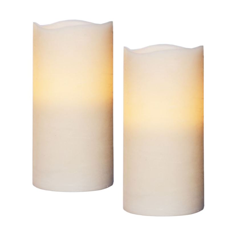 Zuhause – Flameless Flickering 15cm Candles set of 2 Ivory