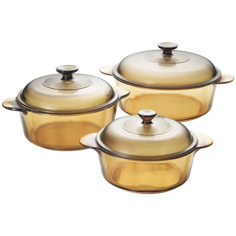 Visions – Versa Pyroceram Casserole with LidsSet of 3 (Six pieces including lids)