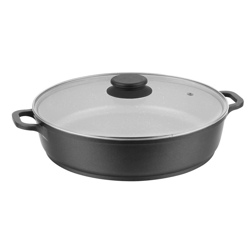 Benzer – Premium Stone Non-Stick Induction Low Casserole with Lid 28cm 4Ltr