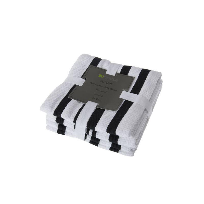 Zuhause – Klassik Pure Cotton Set of 3 Tea Towel 50x70cm Matty Weave Black/White