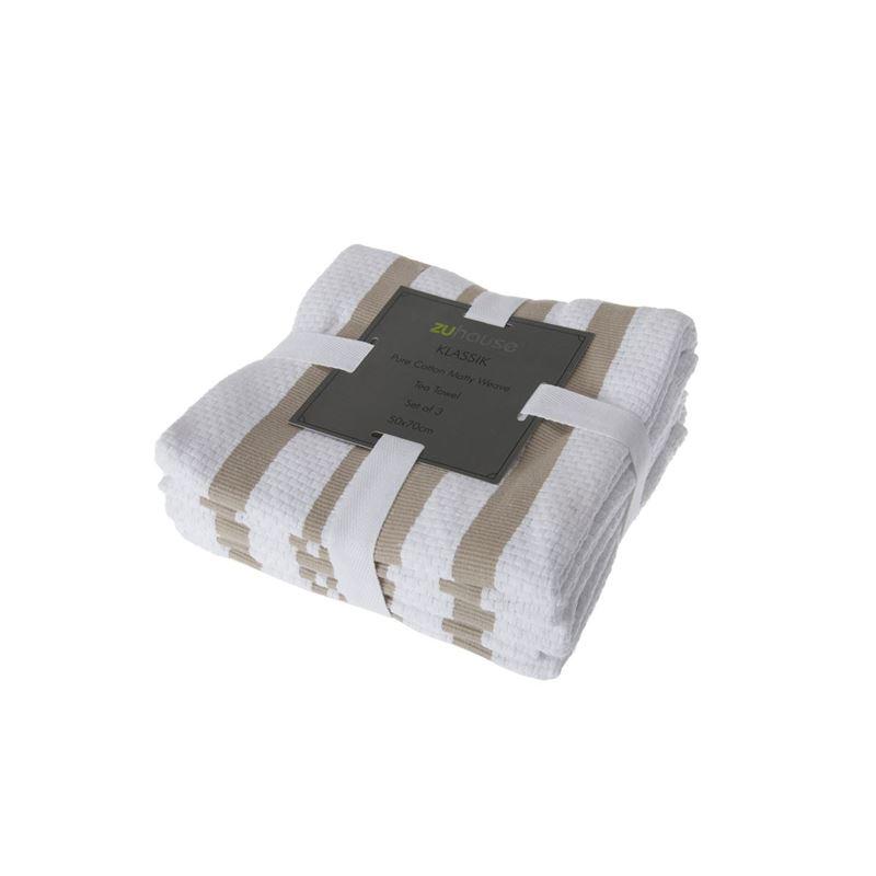Zuhause – Klassik Pure Cotton Set of 3 Tea Towel 50x70cm Matty Weave Khaki/White
