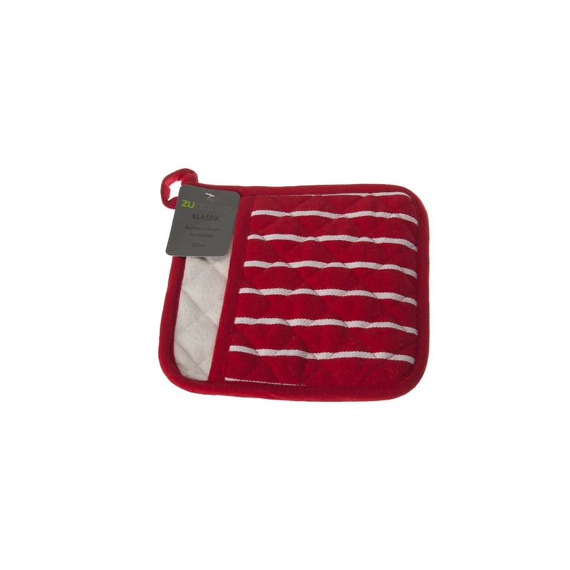 Zuhause – Klassik Butcher's Stripe 100% Cotton Quilted Pot Holder Mitt 22cm Red/White