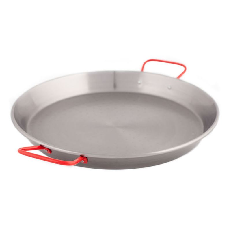 Garcima – Polished Steel Paella Pan 28cm with Red Handles (Made in Spain)