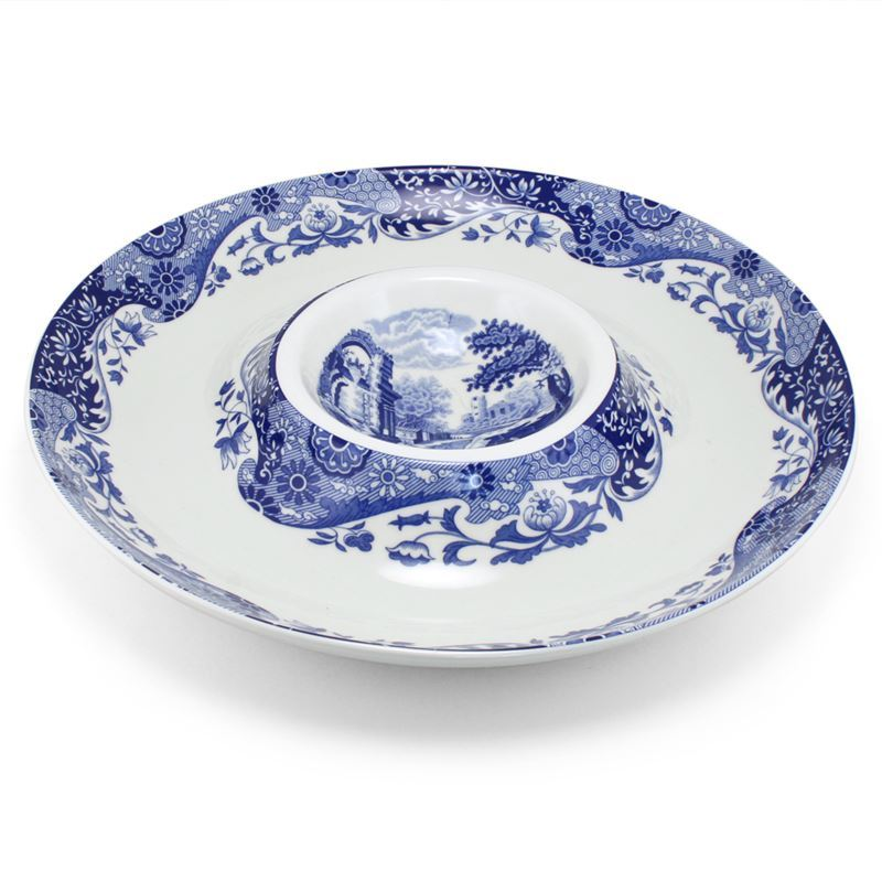 Spode – Blue Italian Large Round Party Dip Dish 37cm