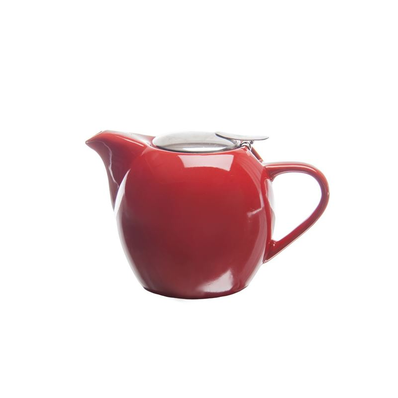 Zuhause – Kiko Ceramic Tea Pot with Stainless Steel Lid and Infuser 500ml Gloss Red