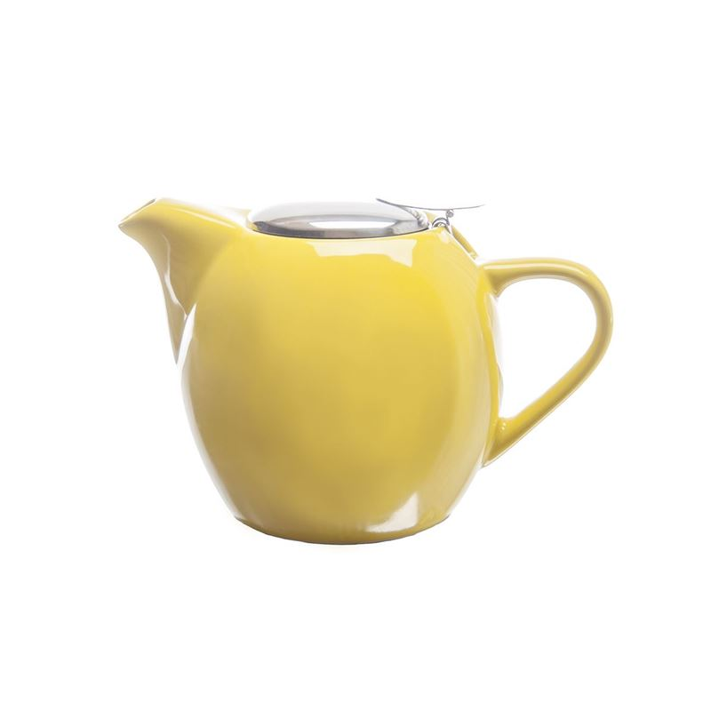 Zuhause – Kiko Ceramic Tea Pot with Stainless Steel Lid and Infuser 750ml Gloss Yellow