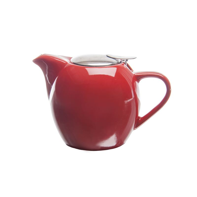 Zuhause – Kiko Ceramic Tea Pot with Stainless Steel Lid and Infuser 750ml Gloss Red