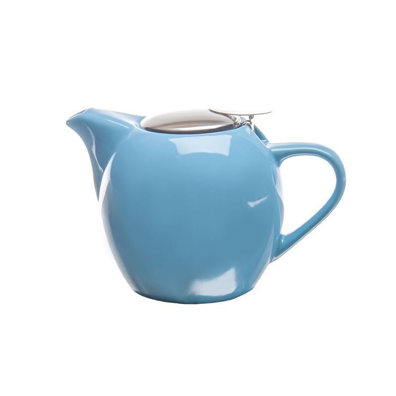 Zuhause – Kiko Ceramic Tea Pot with Stainless Steel Lid and Infuser 750ml Gloss Aqua Blue