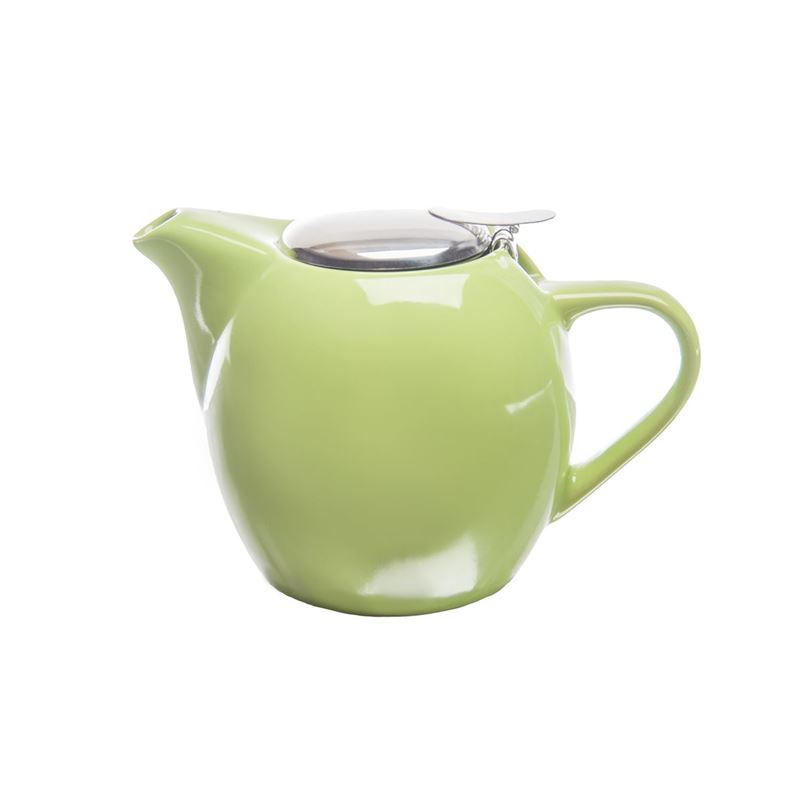 Zuhause – Kiko Ceramic Tea Pot with Stainless Steel Lid and Infuser 750ml Gloss Lime Green