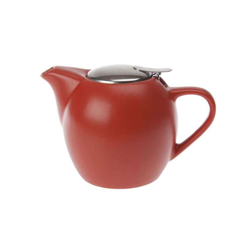 Zuhause – Kiko Ceramic Tea Pot with Stainless Steel Lid and Infuser 750ml Matt Orange