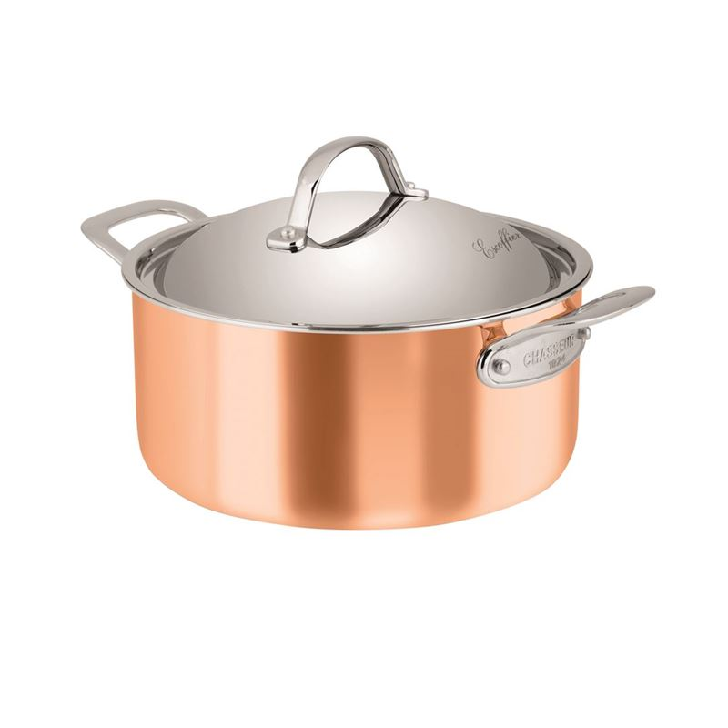 Chasseur – Escoffier Copper and Stainless Steel Tri-Ply 24cm 4Ltr Covered Casserole
