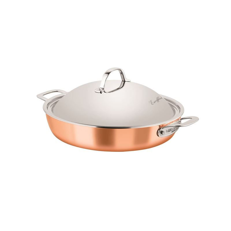 Chasseur – Escoffier Copper and Stainless Steel Tri-Ply Covered Chef's Pan 32cm