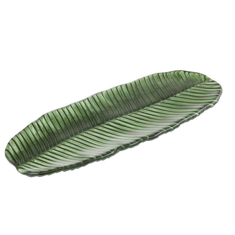 Anya – Ayla Green Glass Leaf Plate 19x47cm