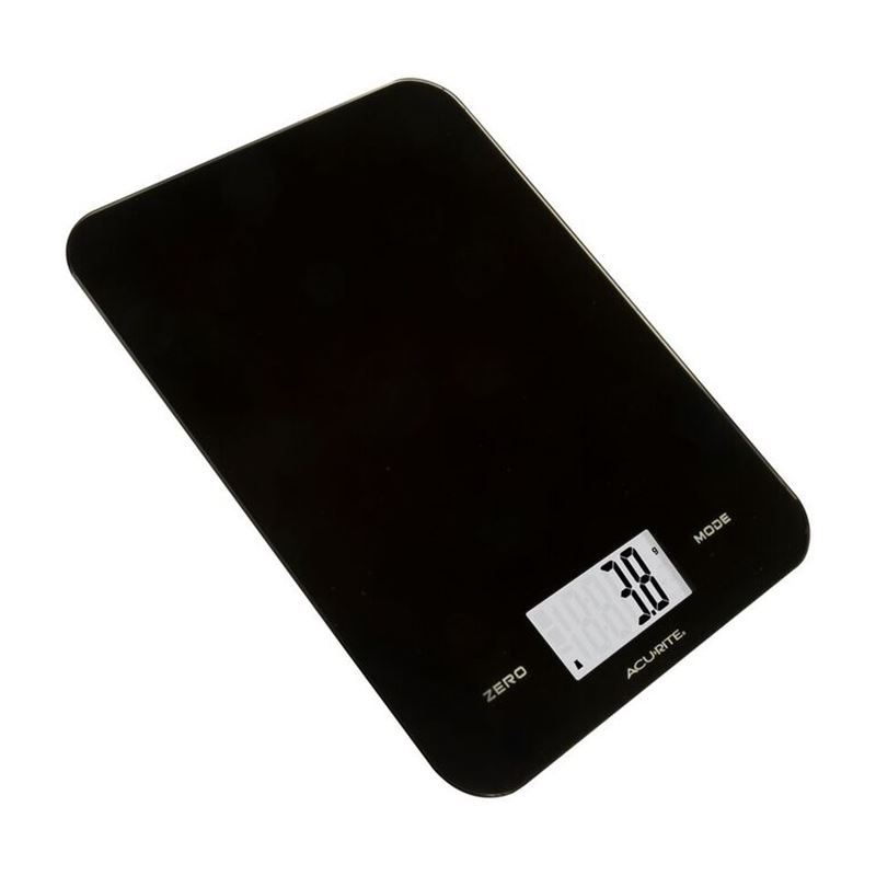 Acu-Rite – Large Slimline Electronic Kitchen Scales Black 8kg in 1g increments