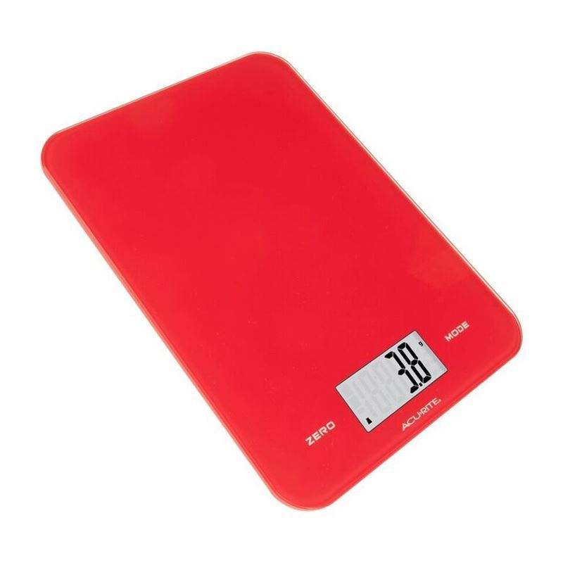 Acu-Rite- Large Slimline Electronic Kitchen Scales Red 8kg in 1g increments