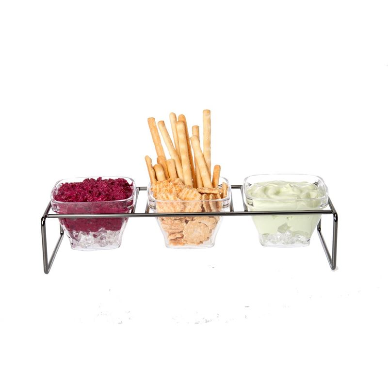 Zuhause – Partii Oblong Metal Tray with 3 Acrylic Snack Bowls