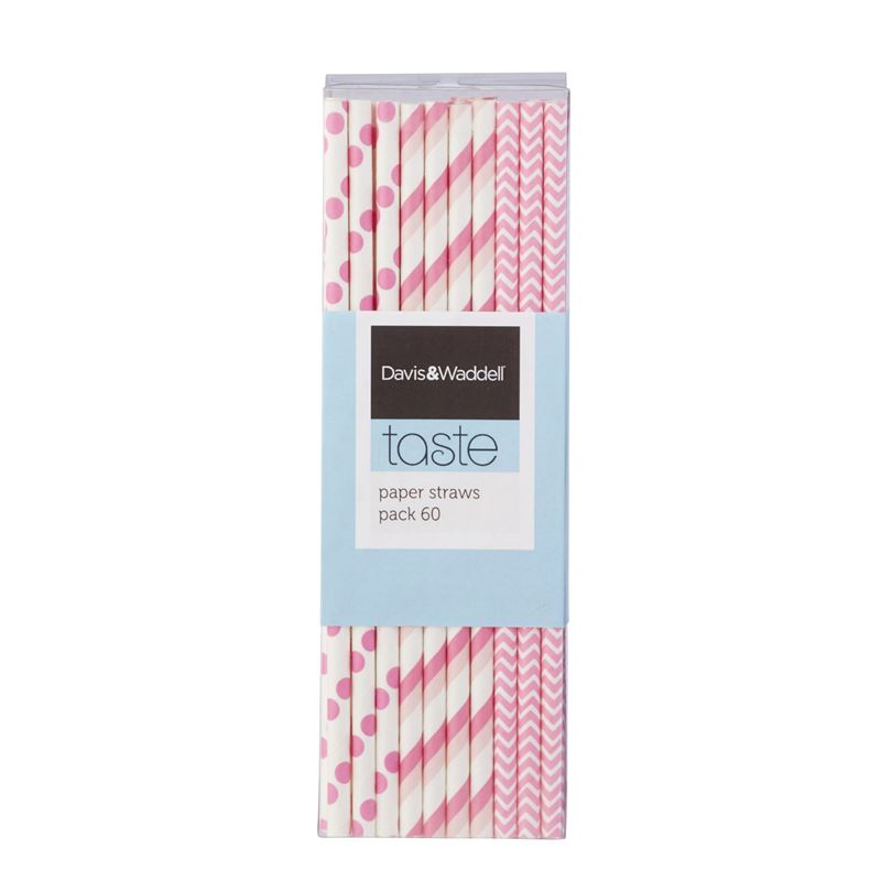Davis & Waddell Taste – Sodacreme Paper Straws Pink and White Pack of 60