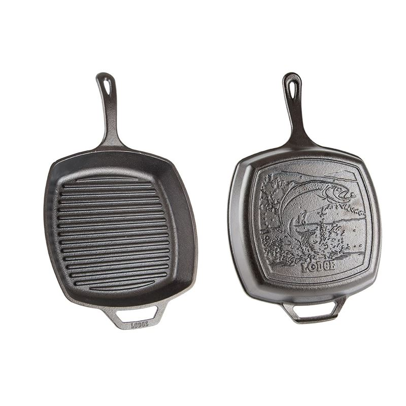 Lodge – Logic Cast Iron Square Grill Pan 27cm with Fish (Made in the U.S.A)
