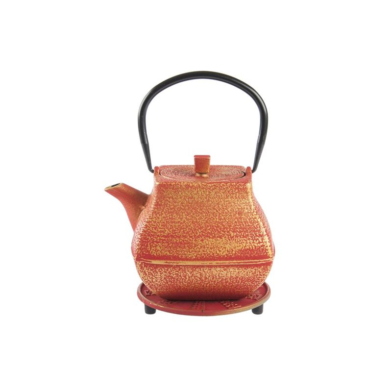 Benzer – Orient Express Nara Cast Iron Tea Pot 1.4Ltr and Trivet Set Red with Gold Finish