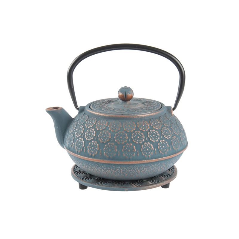 Benzer – Orient Express Sakura Cast Iron Tea Pot 1Ltr and Trivet Set Blue Grey with Bronze Finish