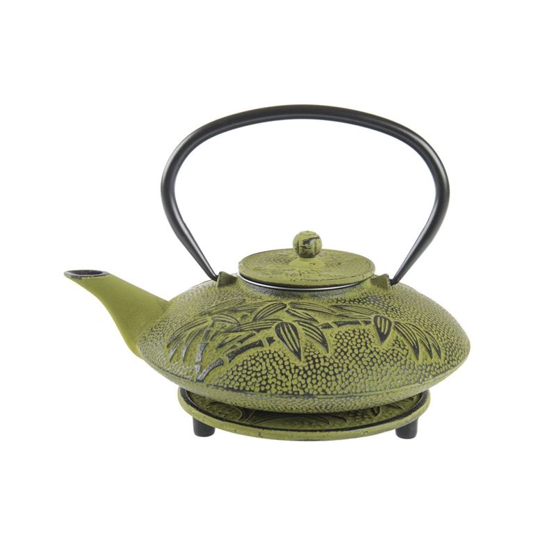 Benzer – Orient Express Bamboo Cast Iron Tea Pot 800ml and Trivet Set Lime with Black Finish